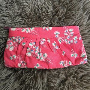 Old Navy coral canvas clutch purse